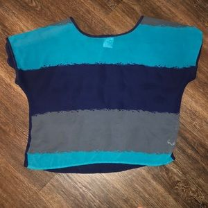 Happen in the Present Blue and teal Sheer Top